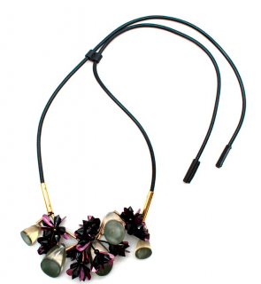Marni Purple & Green Crystal Flower Leather Drawstring Necklace
