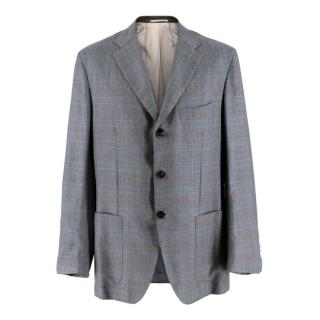 Kiton Napoli Grey & Blue Checked Cashmere & Silk Jacket