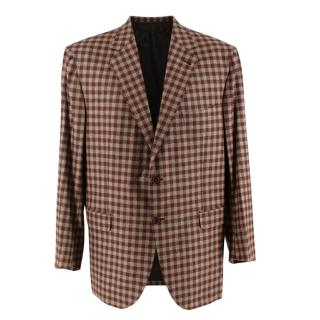 Donato Liguori Brown Wool Vichy Checkered Hand Tailored Blazer Jacket