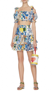 Dolce & Gabbana Maiolica-Print Tiered Mini Skirt