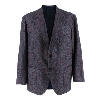 Donato Liguori Blue & Red Mohair Blend Hand Tailored Blazer Jacket
