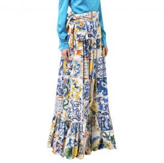Dolce & Gabbana Sicily Print Tie Waist Maxi Skirt