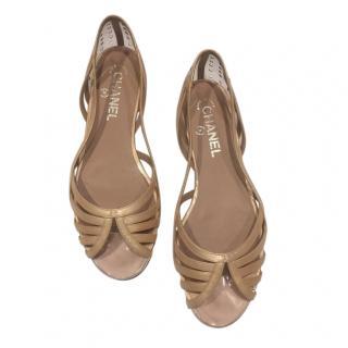 Chanel Pale Gold Leather/Plexi Ballerinas