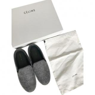 Celine Grey Felted Wool Slip-On Sneakers