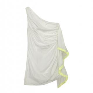 MSGM Neon Trimmed One Shoulder Ruffled Mini Dress