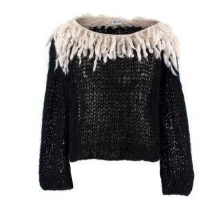 Gudrun & Gudrun Black Mohair Knit Jumper w/ Cream Fringe