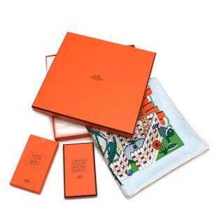 Hermes La Maison Des Carres Silk Scarf 90 w/ Knotting Cards