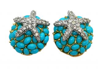 Kenneth Lane Crystal Embellished Turquoise Starfish Earrings