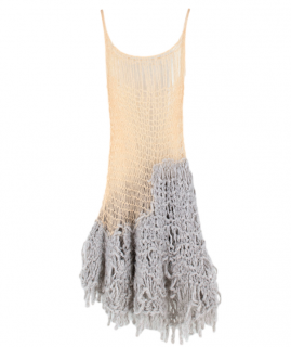 Gudrun & Gudrun Cream & Grey Mohair Open Knit Dress