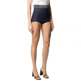 Dolce & Gabbana high-waist logo denim shorts