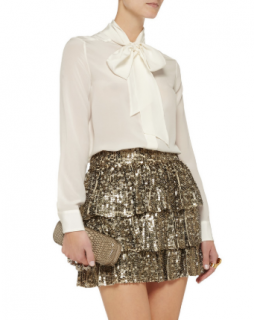 Alice + Olivia Thalia Sequined Silk Mini Skirt