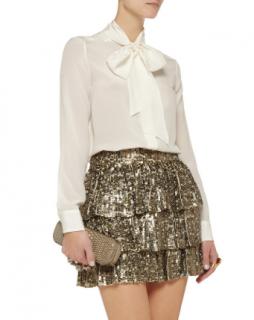 Alice + Olivia Thalia Sequined Silk Mini Skirt