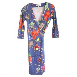 DVF Blue Silk Jersey Floral Wrap Dress