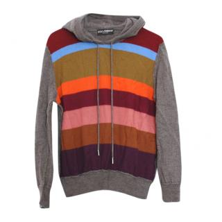 Dolce & Gabbana Wool Blend Grey Stripe Front Hoodie