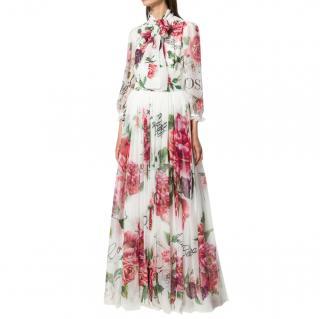 Dolce & Gabbana White Peony Print Chiffon Gown