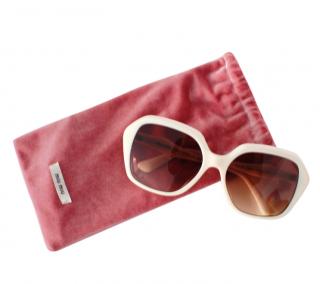 Miu Miu White Square Sunglasses
