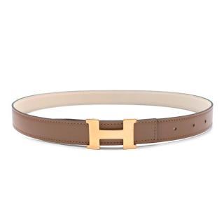 Hermes Craie/Argile Mini Constance Reversible Leather Belt 24mm GHW