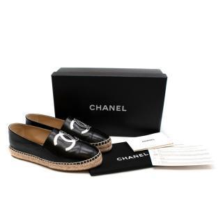 Chanel Black & Silver Lambskin CC Espadrilles