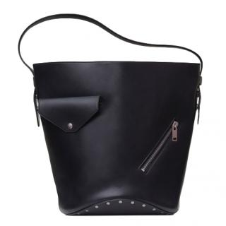 Celine Black Calfskin Biker Bucket bag