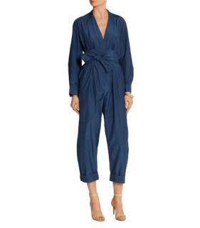 Victoria Victoria Beckham Blue Silk Blend Jumpsuit