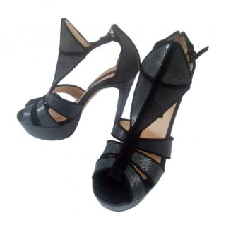 Chrissie Morris stingray leather cutout sandals