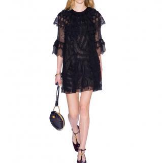 Chloe Black Embroidered Sheer Mini Dress