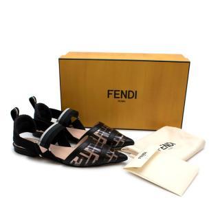 Fendi Black & Transparent Colibri Flat Logo Pumps
