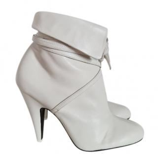 Tom Ford White Leather Wrap Ankle Boots  41 EU