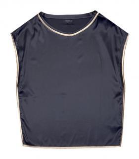 Brunello Cucinelli Black Silk Sleeveless Top