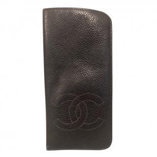 Chanel Black Caviar Leather vintage Glasses Pouch