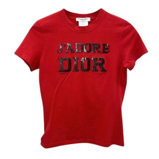 Dior Red Embellished J' Adore 1947 T-Shirt