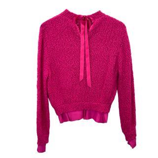 Nina Ricci Pink Tie Neck Fuchsia Knit Jumper