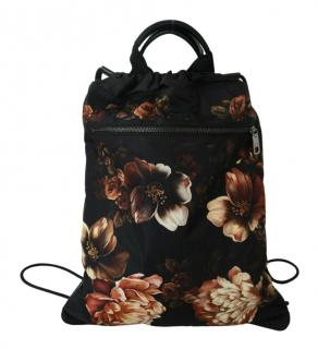 Dolce & Gabbana Black Floral Print Drawstring backpack