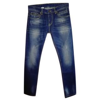 Dolce & Gabbana Mens Blue Washed Denim Jeans