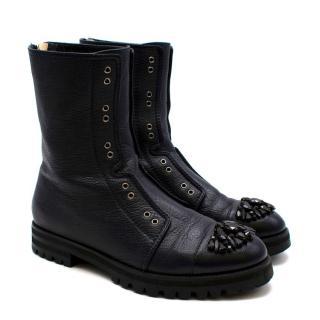 Jimmy Choo Black Hatcher Embellished Leather Boots