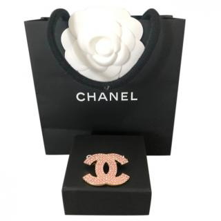 Chanel Pink Crystal CC Pin Brooch