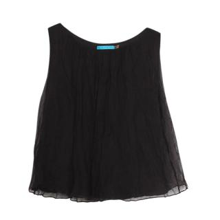 Alice + Olivia Black Silk Sleeveless Top