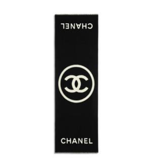 Chanel Black & Cream Reversible Cashmere Stole
