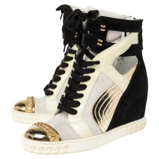 Casadei Black & Gold High Top Wedge Sneakers