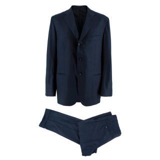 Kiton Napoli Navy Check Wool 2pc Suit