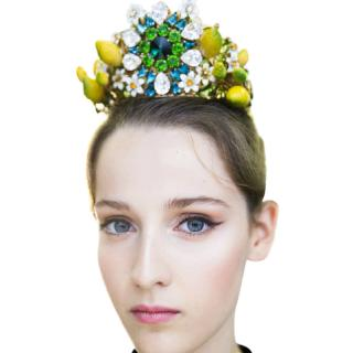Dolce & Gabbana Sicilian Lemon Crystal Embellished Filigree Tiara