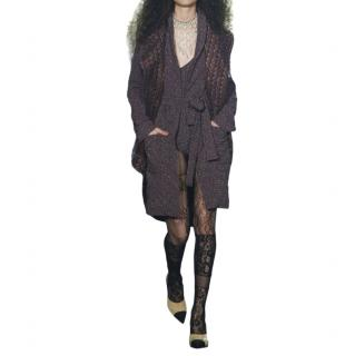 Chanel Paris/Rome Purple Tweed Runway Wrap Coat