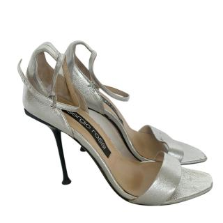 Sergio Rossi Metallic Leather Pin Heel Sandals