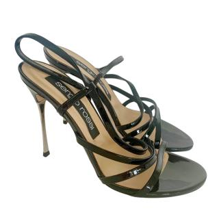 Sergio Rossi Black Patent Leather Pin Heel Sandals