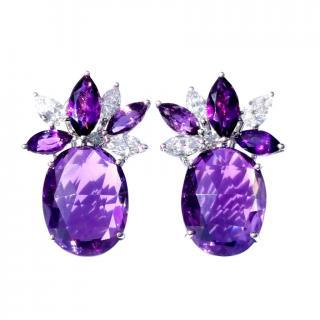 William & Son Amethyst & Diamond Earrings