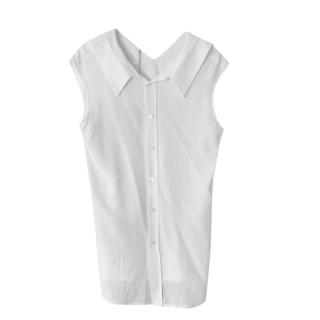 Marni White Silk Crepe De Chine Sleeveless Blouse