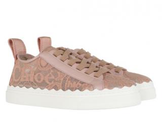 Chloe Pink Tea Lauren Lace Sneakers