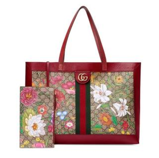 Gucci Blooms Red Leather Trim Ophidia Tote Bag