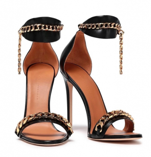 Victoria Beckham Black Leather Chain Trim Daisy Sandals