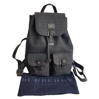 Burberry Black & Grey Check Backpack